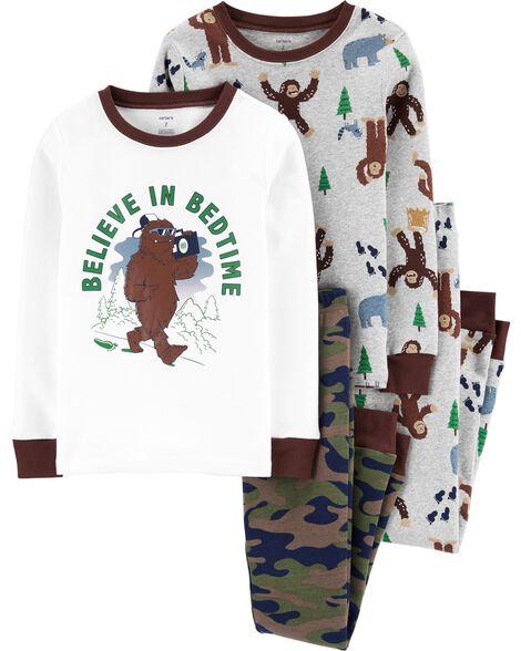 Pyjamas 4 pièces en coton ajusté Big Foot