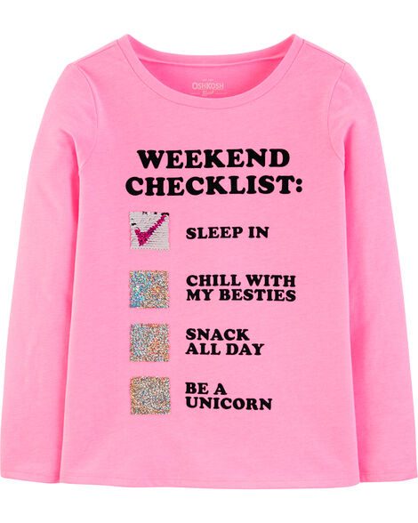T-shirt à paillettes réversibles Weekend Checklist