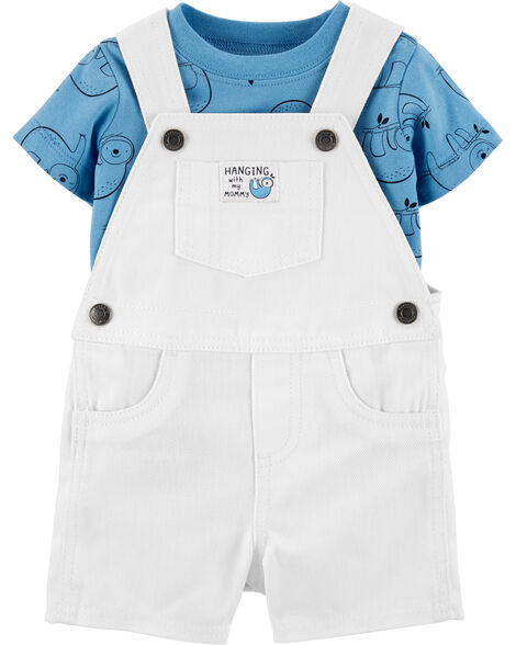 2-Piece Sloth Tee & Shortalls Set