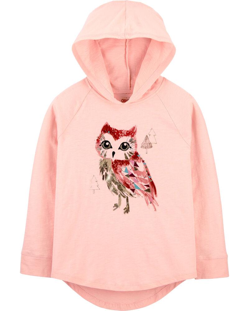 Slub Jersey Owl Hoodie, , hi-res