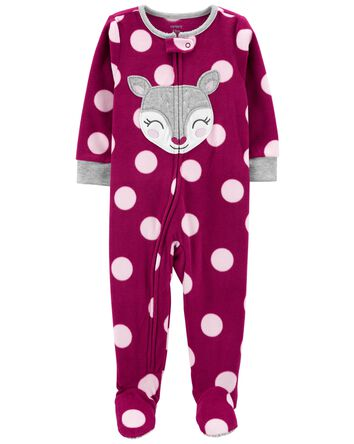 1-Piece Deer Fleece Footie PJs