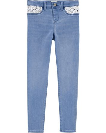 Jegging en denim brodé