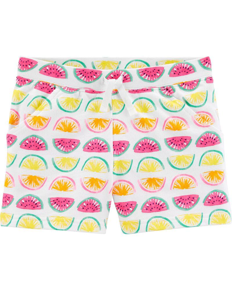 Short à enfiler en jersey bouclette à motif de fruits, , hi-res