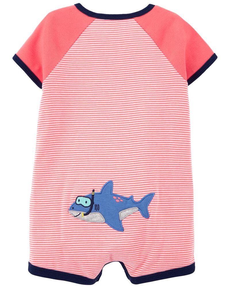Barboteuse à boutons-pression avec requin, , hi-res