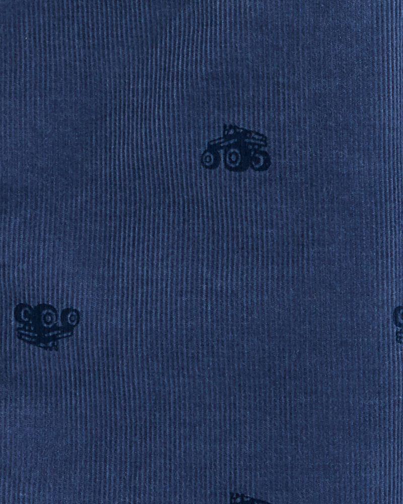 Chemise en velours côtelé à imprimé indigo, , hi-res