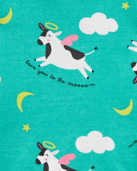 4-Piece Cow Snug Fit Cotton PJs