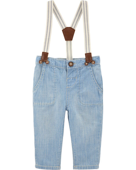Chambray Pinstripe Suspender Pants
