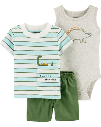 3-Piece Dinosaur Little Short Set