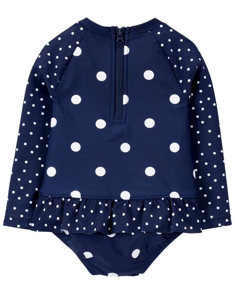 Polka Dot Long Sleeve One Piece Swimsuit, , hi-res