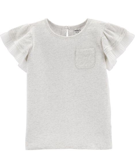 T-shirt à poche et manches en tulle superposées