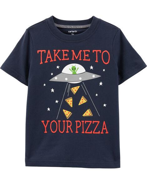 T-shirt en jersey à imprimé pizza et extraterrestre