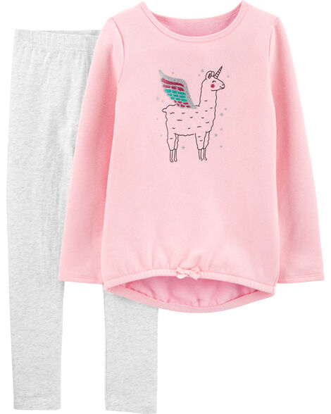 2-Piece Llama Fleece Top & Legging Set