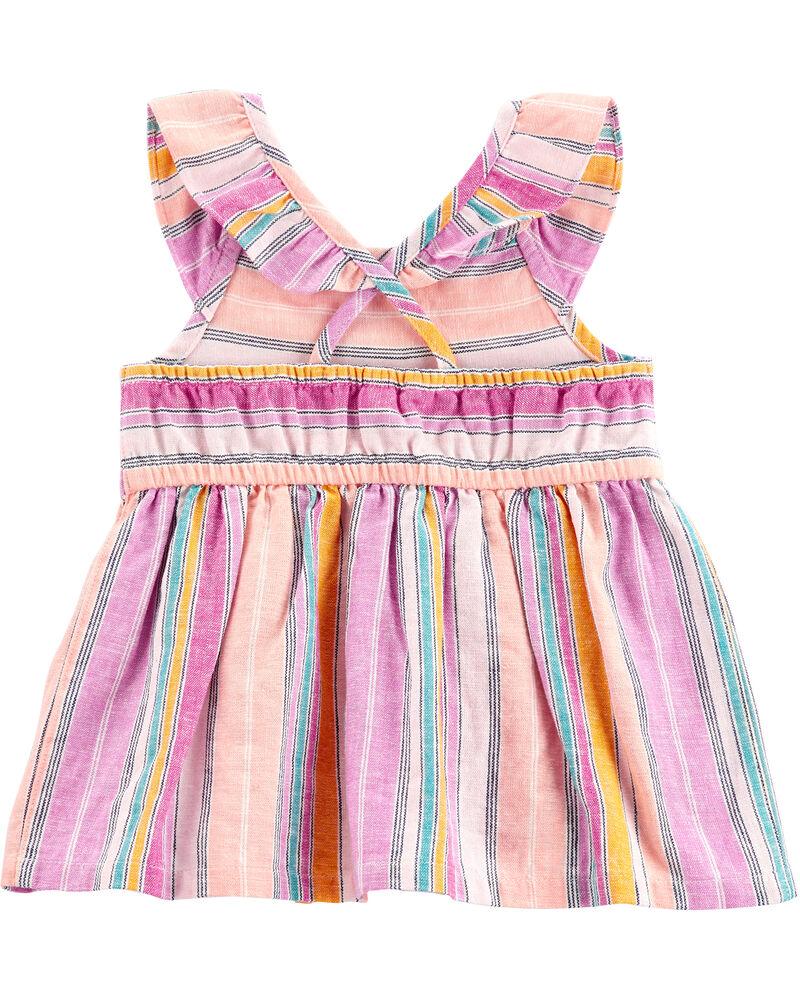 2-Piece Striped Flutter Top & Knit Denim Playground Shorts, , hi-res