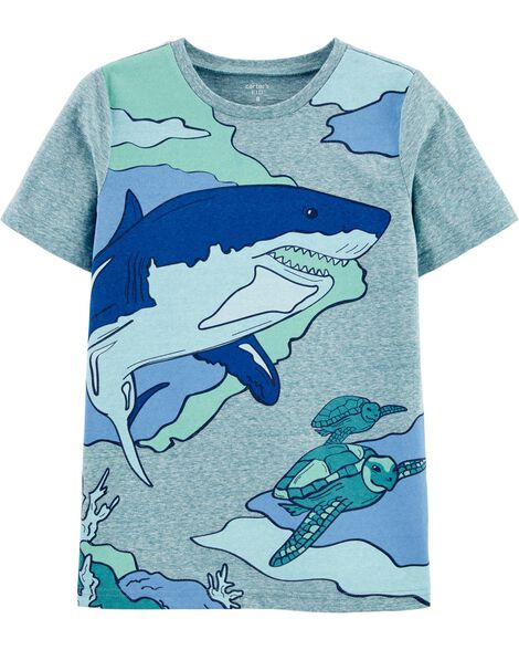 T-shirt en jersey chiné requin