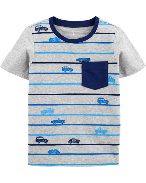 T-shirt rayé avec poche motif voiture