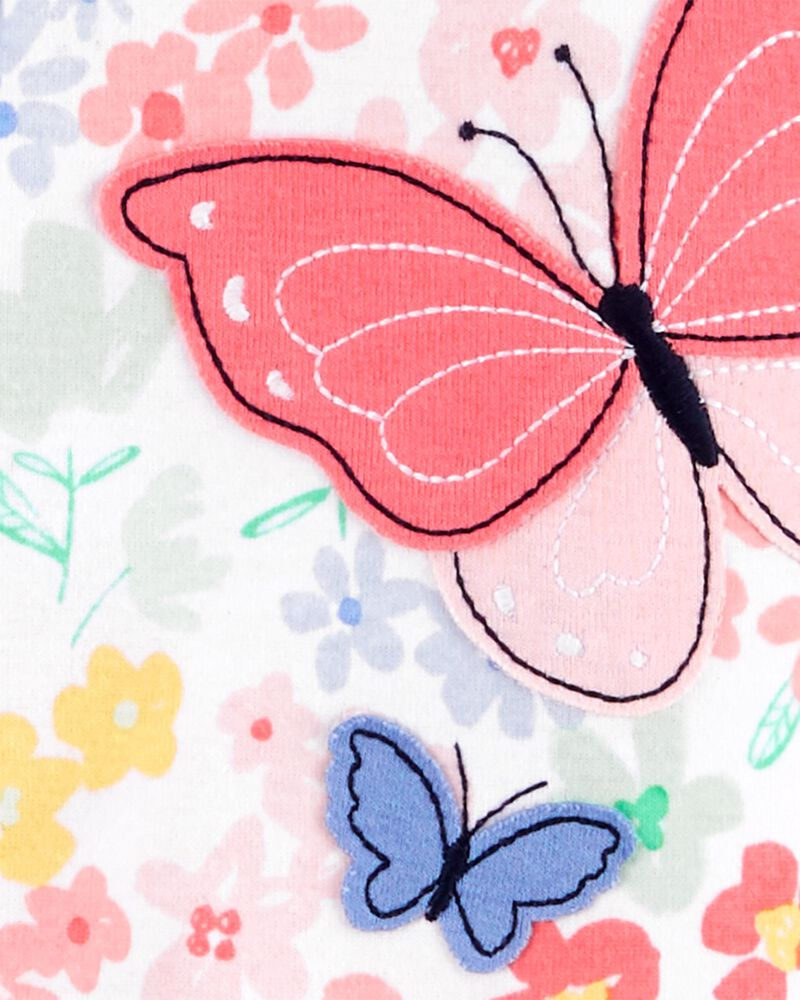 Pyjama 1 pièce à pieds en coton ajusté à papillon, , hi-res
