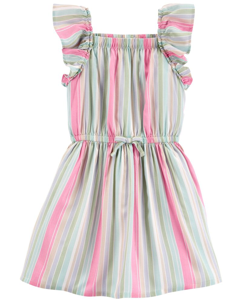 Rainbow Stripe Ruffle Dress, , hi-res