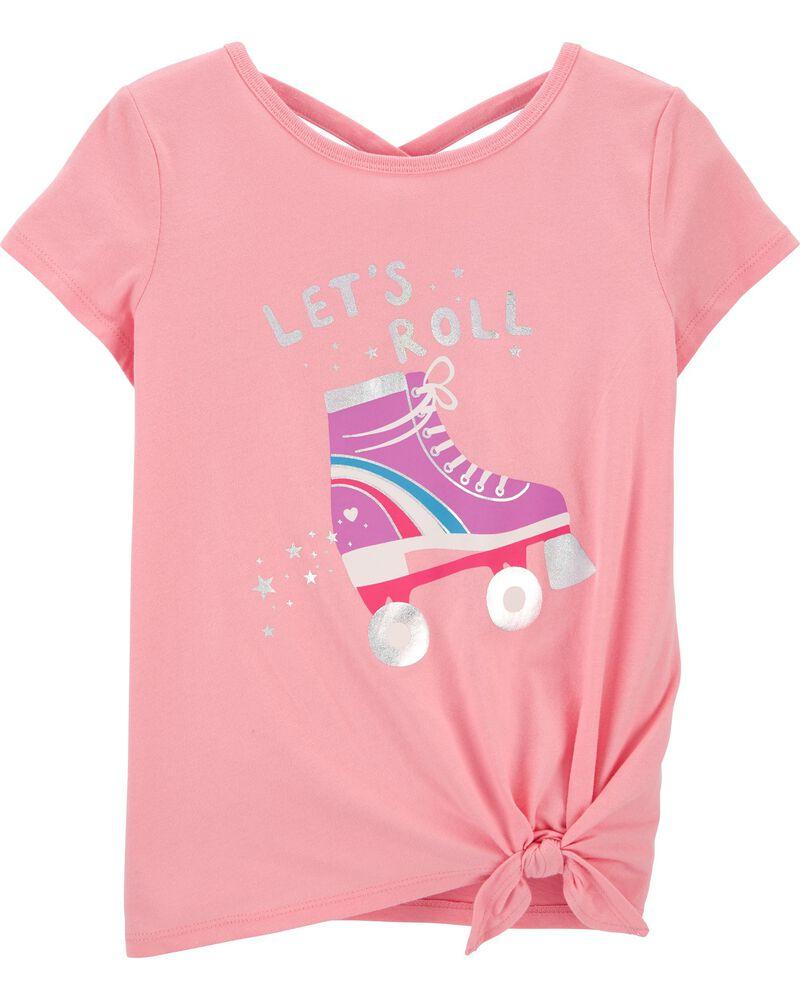 Glitter Roller Skate Tie-Front Jersey Top, , hi-res