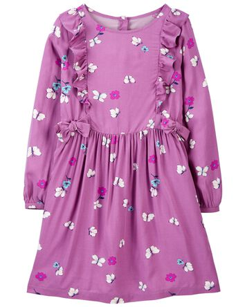 Floral Butterfly Viscose Dress