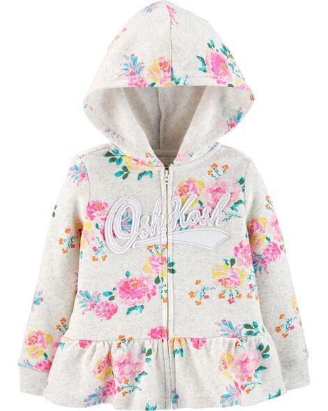 Peplum Hem Floral Logo Hoodie