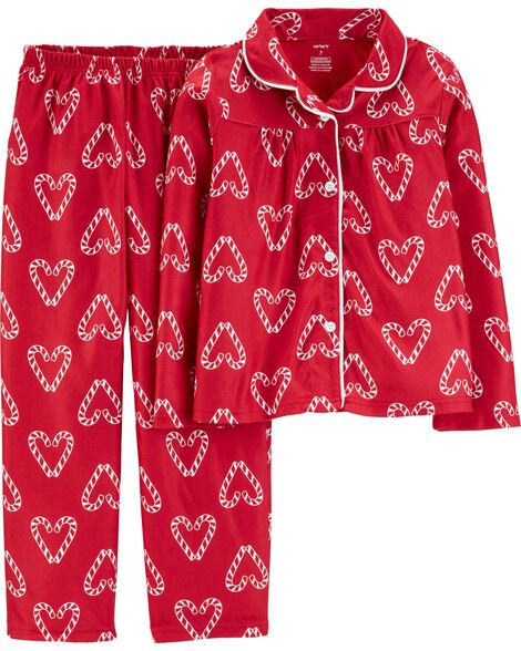 2-Piece Hearts Coat Style Fleece PJs