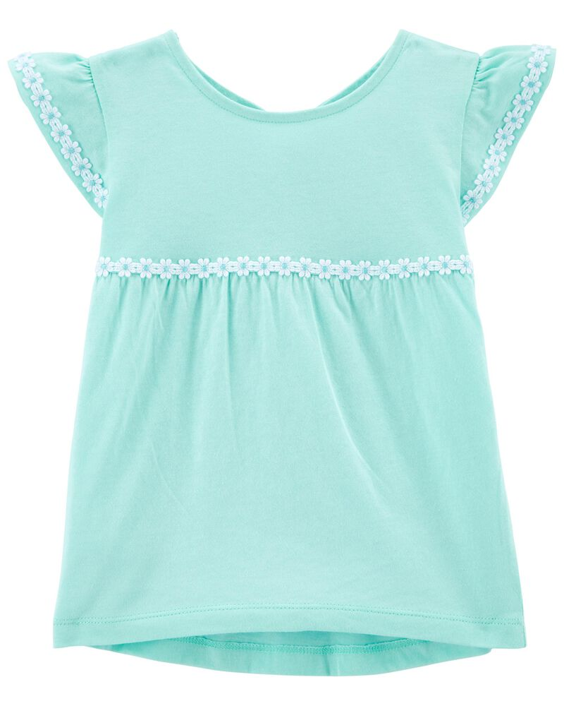 Embroidered Ruffle-Sleeve Tee, , hi-res