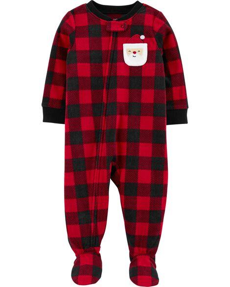 Pyjama 1 pièce à pieds en molleton avec carreaux buffalo