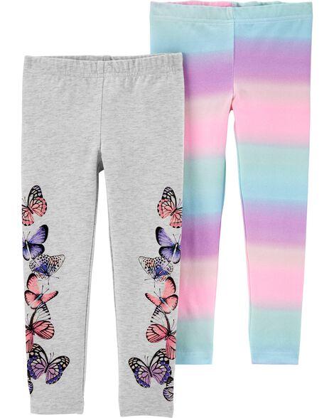 2-Pack Rainbow Butterfly Leggings