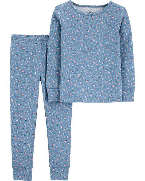 2-Piece Floral Snug Fit Cotton PJs