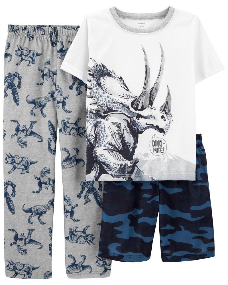 Pyjama 3 pièces de coupe ample à dinosaure, , hi-res