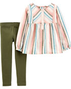 2-Piece Striped Linen Top & Legging Set, , hi-res