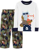 2-Piece Woodland Creatures Snug Fit Cotton & Fleece PJs, , hi-res