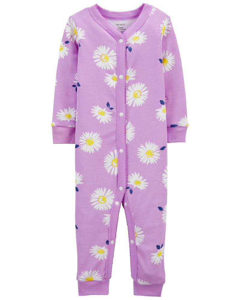 Pyjama 1 pièce sans pieds en coton ajusté à marguerites, , hi-res