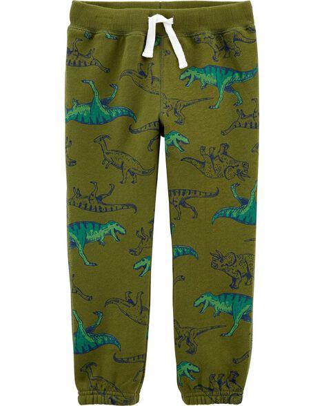 Pantalon à enfiler en molleton avec dinosaure