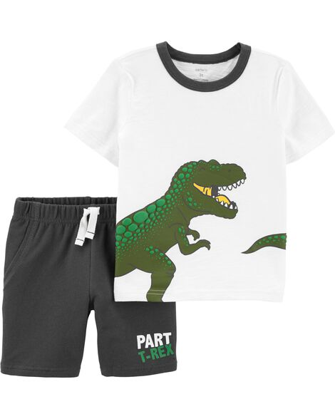 2-Piece T-Rex Slub Jersey Tee & French Terry Short Set