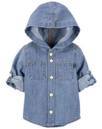 Hooded Denim Shirt