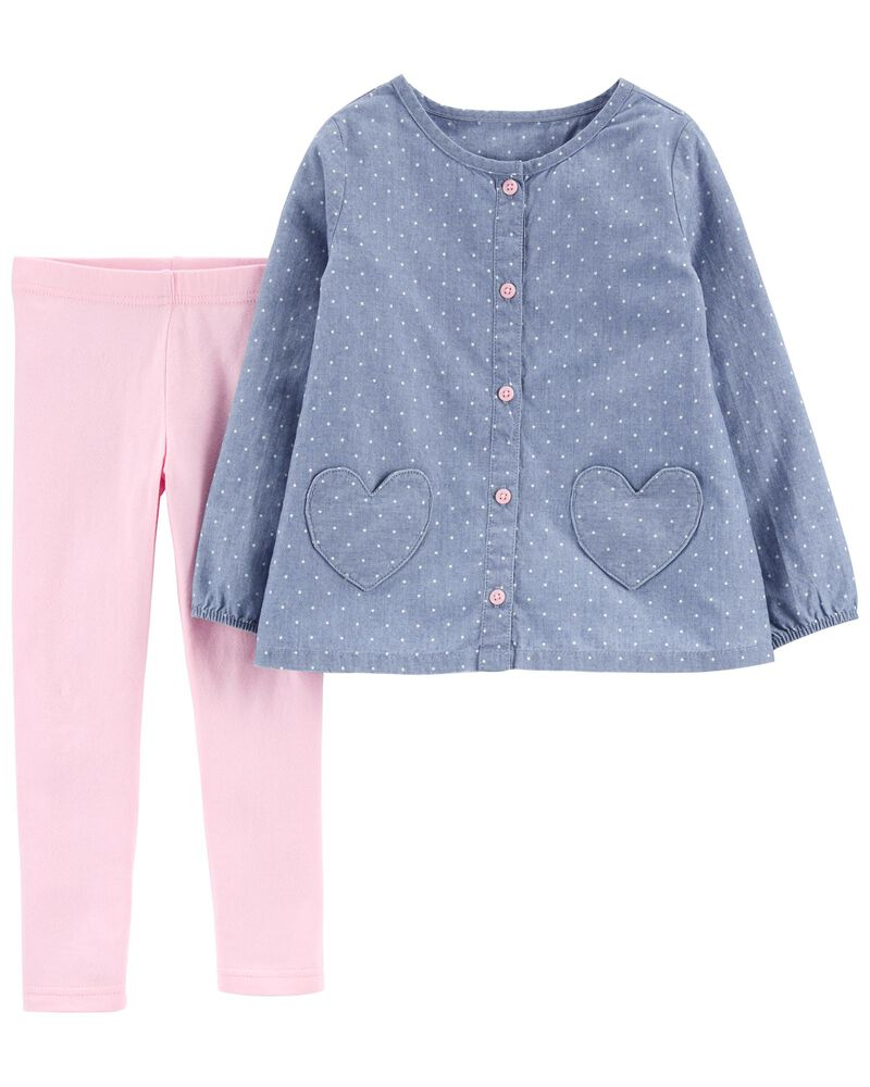 2-Piece Heart Chambray Top & Legging Set, , hi-res