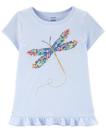 T-shirt en jersey fleuri à libellul...