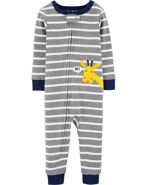 Pyjama 1 pièce sans pieds en coton ajusté motif de girafe