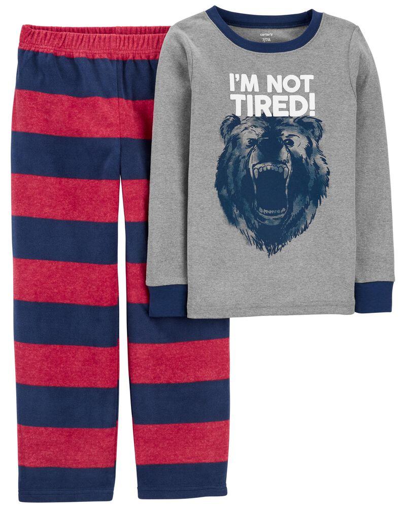 Pyjama 2 pièces en molleton avec ourson, , hi-res