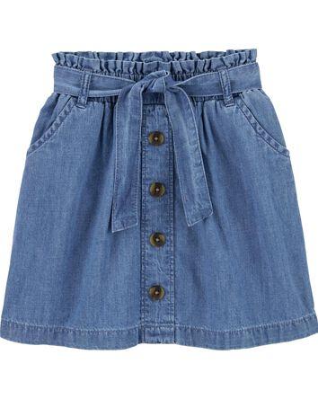 Chambray Ruffle Waist Skirt