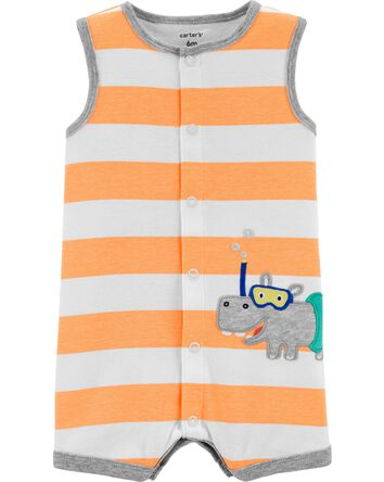 Hippo Snap-Up Cotton Romper