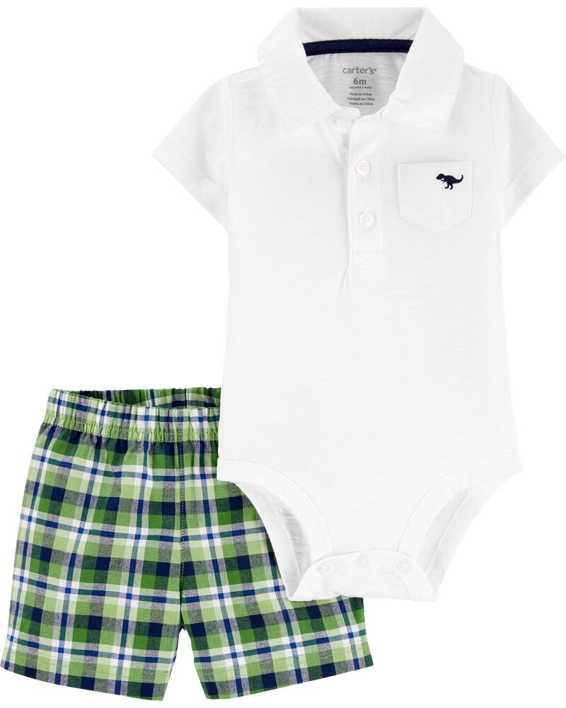 2-Piece Polo Bodysuit & Plaid Short Set, , hi-res