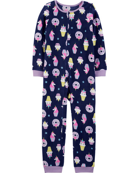 1-Piece Unicorn Cupcake Fleece Footless PJs