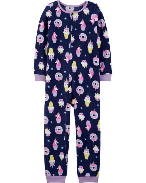 Pyjama 1 pièce sans pieds en molleton petit gâteau et licorne