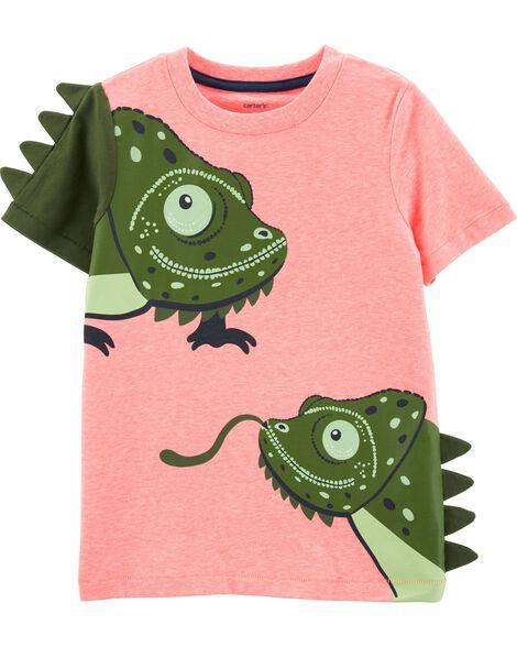 T-shirt chiné à caméléons fluo