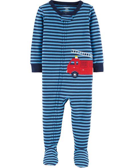 1-Piece Firetruck Snug Fit Cotton PJs