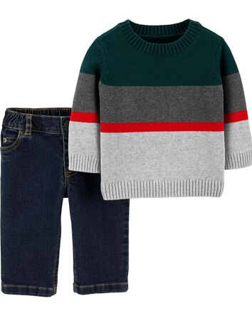 2-Piece Striped Sweater & Jeans Set