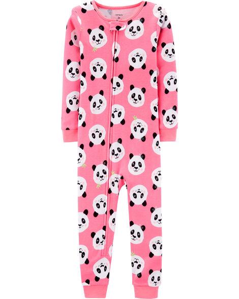 Pyjama 1 pièce sans pieds en coton ajusté à panda