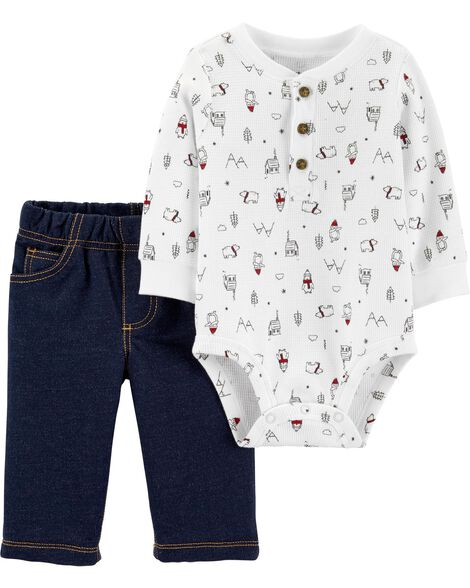 2-Piece Winter Henley Bodysuit Pant Set